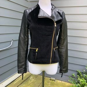 F21 Vegan Leather and Pony Hair Moto Jacket
